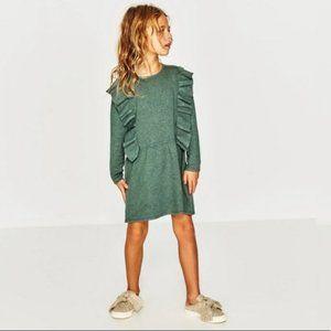 ZARA Knitwear Fancy Collection Green Ruffle Dress Sz 7